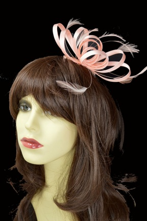 Peach Satin Loop & Feather Comb Fascinator